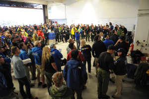 Morning briefing for search teams at Boulder Airport. Photo: Michael Rieger/FEMA